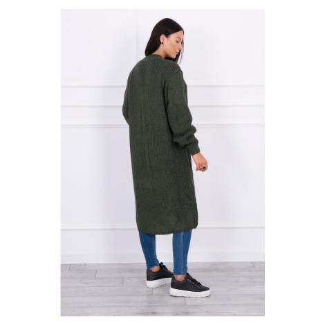 Sweater long cardigan khaki