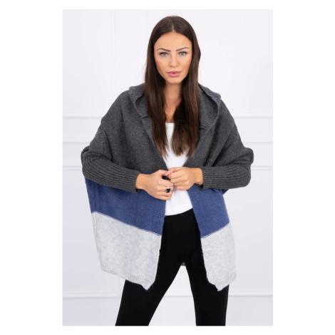 Trzykolorowy sweter z kapturem grafit + dżinsy + szary