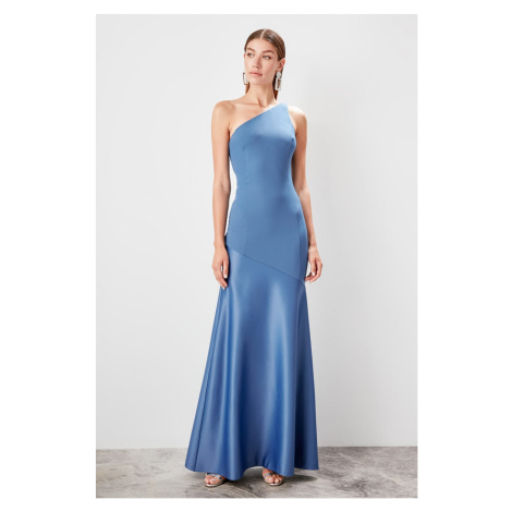 Trendyol Indigo One shoulder evening dress