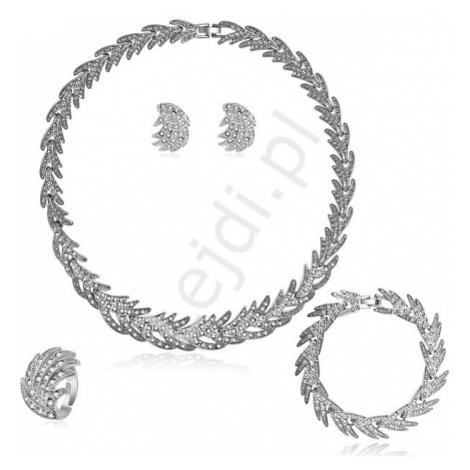 Komplet biżuterii ślubnej srebrne liście z kryształkami