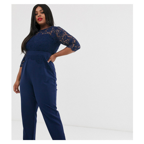 Paper Dolls Plus cutwork lace tailored jumpsuit in navy