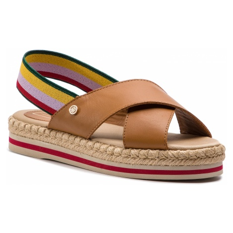 Espadryle TOMMY HILFIGER - Colorful Rope Flat Sandal WF0FW04060 Summer Cognac 929