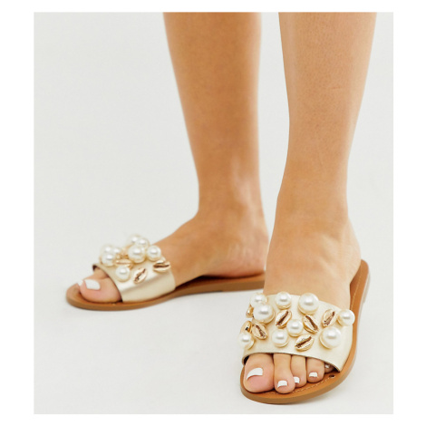 ASOS DESIGN Wide Fit Fountain premium leather embellished flat sandals
