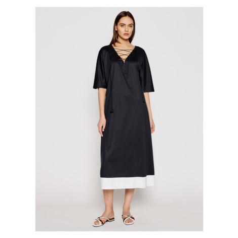 Max Mara Beachwear Sukienka letnia Prosit 36210318 Czarny Relaxed Fit