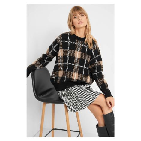 Sweter oversize w kratę Orsay
