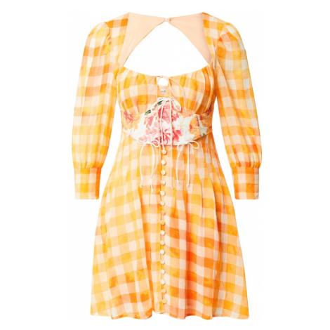 For Love & Lemons Sukienka 'Mimosa' biały / pomarańczowy