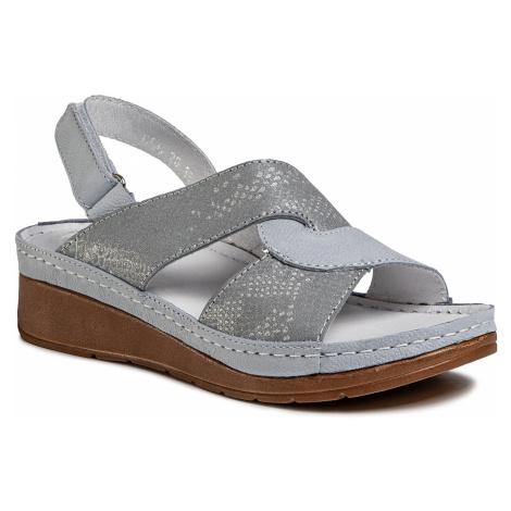 Sandały WALDI - 0656 Nub. Jasno Niebieski/Srebro Anakonda
