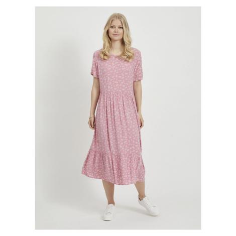Różowa kwiecista sukienka midi VILA Kidda