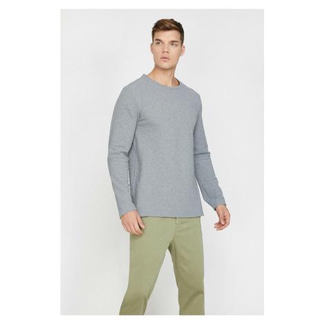Koton Men's Gray Crew Neck Sweater