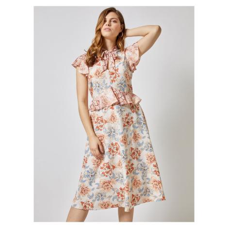 Kremowa sukienka midi w kwiaty Dorothy Perkins