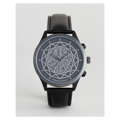 ASOS DESIGN watch in black with geometric exposed cogs detail