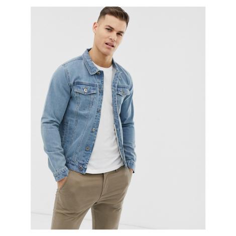Soul Star slim fit denim jacket in blue wash