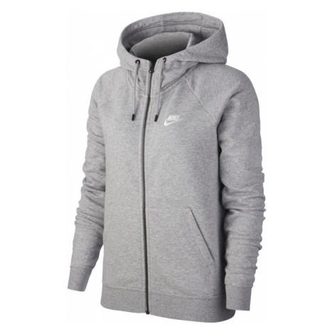 Damska dzianinowa bluza z kapturem i zamkiem na całej długości Nike Sportswear Essential - Szary
