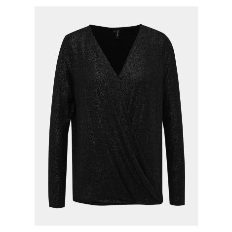 Czarna błyszcząca bluzka VERO MODA Miód