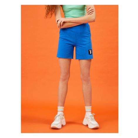 Koton Women's Blue Cotton Emblemed Shorts