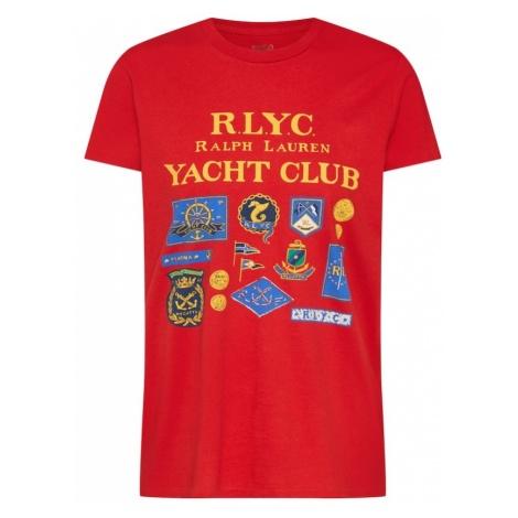 POLO RALPH LAUREN Koszulka 'RLYC RL TEE-SHORT SLEEVE-KNIT' niebieski / złoty żółty / czerwony