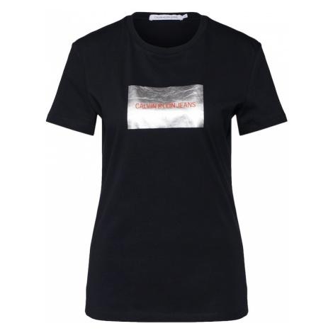Calvin Klein Jeans Koszulka 'INSTIT SILVER BOX LOGO TEE' czarny / srebrny