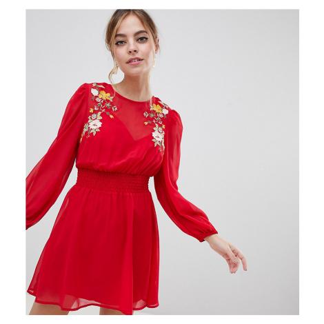 ASOS DESIGN Petite embroidered mini skater dress