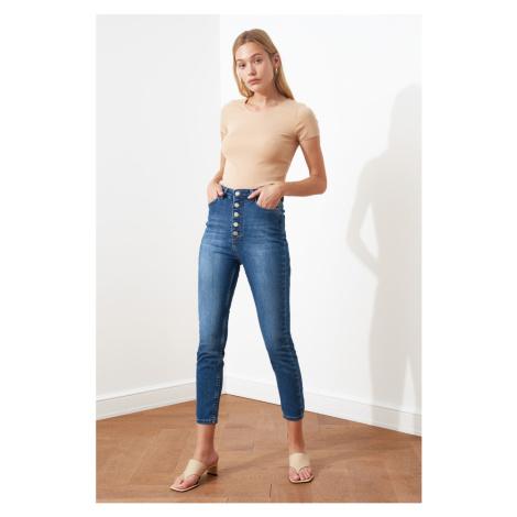 Trendyol Navy Blue Front z guzikami z wysokim stanem Chudy Jeans