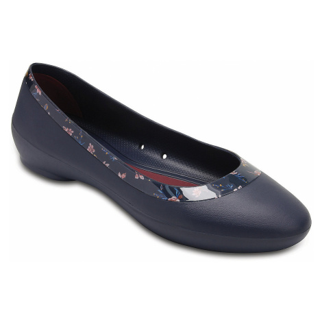 buty Crocs Lina Shiny Graphic Flat - Navy/Floral