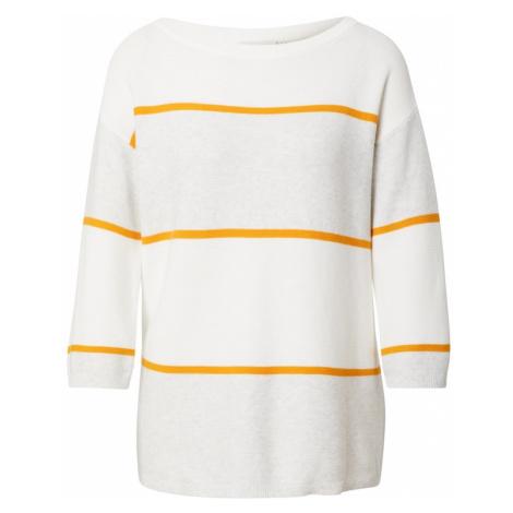 Kaffe Sweter biały / pomarańczowy