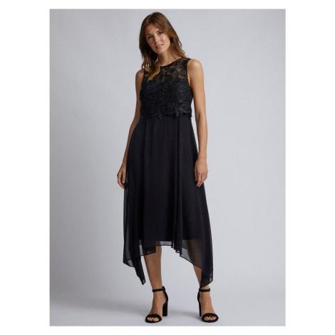 Czarna sukienka midi z koronką Dorothy Perkins Aurora