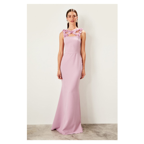 Trendyol Lilac Floral Accessories Detailed evening dress