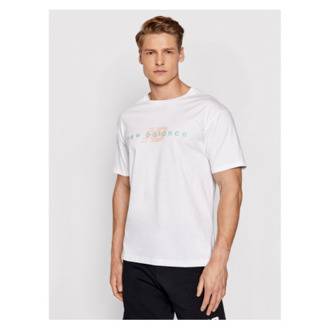 New Balance T-Shirt MT01516 Biały Relaxed Fit