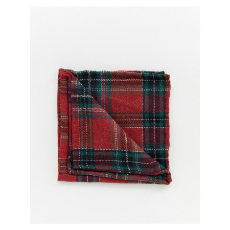 Twisted Tailor pocket square in red tartan