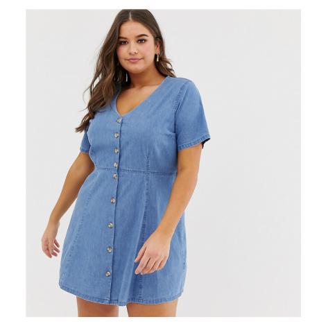ASOS DESIGN Curve denim tea dress with mock horn buttons in midwash blue