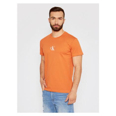 Calvin Klein Jeans T-Shirt J30J314267 Pomarańczowy Regular Fit
