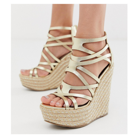 Miss Selfridge wedge sandals in gold