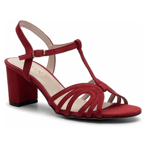 Sandały SAGAN - 3198 Czerwony Welur