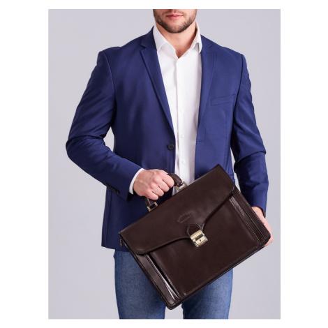 Elegancka ciemnobrązowa teczka biznesowa dla mężczyzny