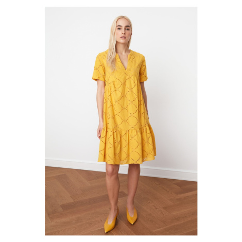 Trendyol Large Cut Dress with Mustard Brode