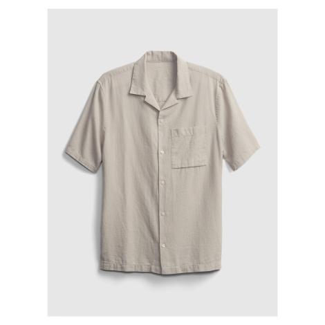 GAP beżowa koszula męska ss linen ctn