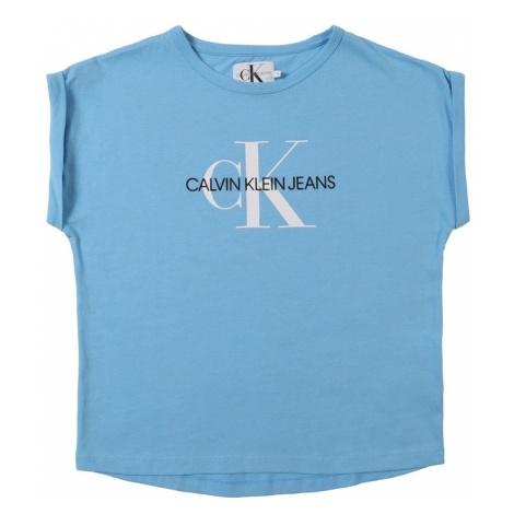 Calvin Klein Jeans Top 'MONOGRAM LOOSE FIT TEE' jasnoniebieski / biały