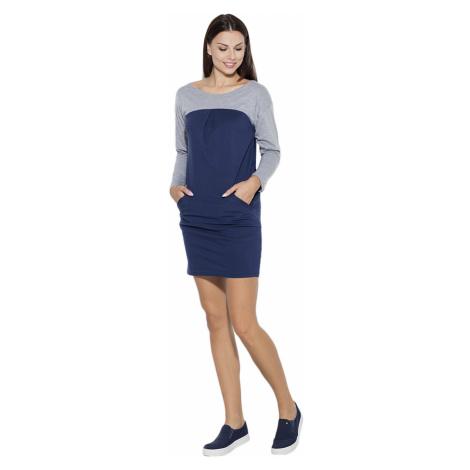 Katrus Woman's Dress K106 Navy Blue