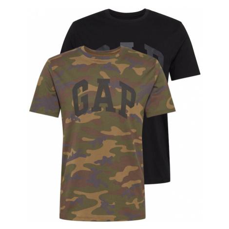GAP Koszulka 'ARCH' czarny / zielony / khaki / miodowy