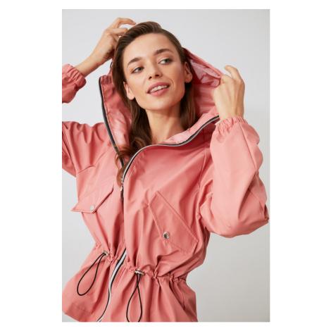 Trendyol Rose Dry Hooded Ruffle Detailing Water Propulsion Coat