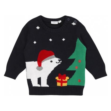 NAME IT Sweter 'RIJUMBO' ciemny niebieski / biały / zielony / czerwony / żółty