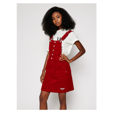 Tommy Jeans Spódnica mini Crossback Dungaree DW0DW09182 Bordowy Regular Fit Tommy Hilfiger
