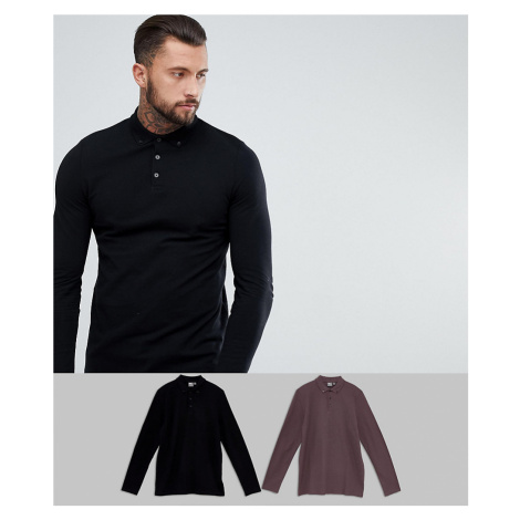 ASOS DESIGN 2 pack pique long sleeve polo save