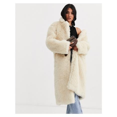 ASOS DESIGN faux fur teddy longline coat in cream