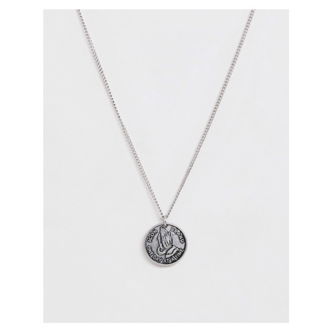 Icon Brand neck chain with praying hands pendant in silver