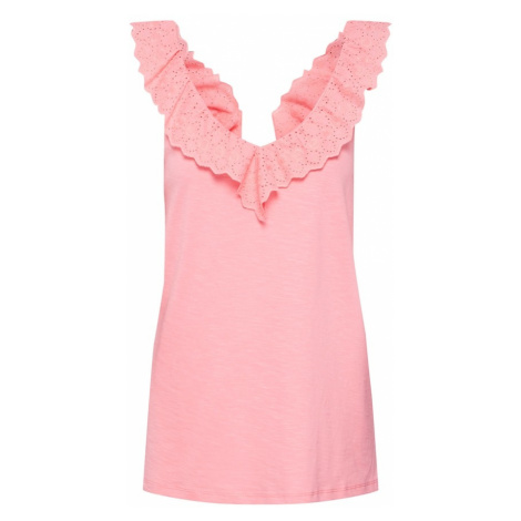 EDC BY ESPRIT Top 'Ruffle' różowy