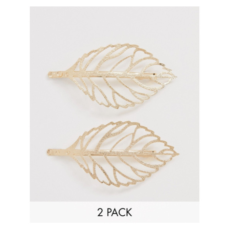 ASOS DESIGN pack of 2 hair clips in open leaf design in gold tone
