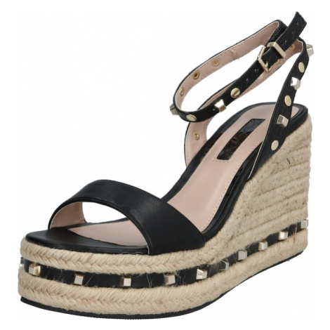 Miss Selfridge Sandały 'WHIZZER Black Stud Wedges' czarny