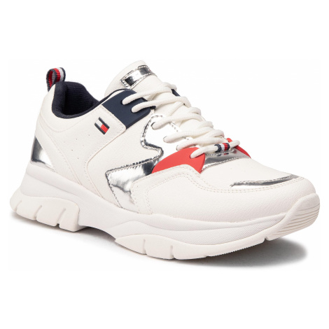 Sneakersy TOMMY HILFIGER - Low Cut Lace-Up Sneaker T3A4-30821-0193 S White/Silver X025