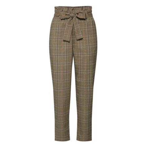 VILA Spodnie brązowy / jasnobrązowy / czarny